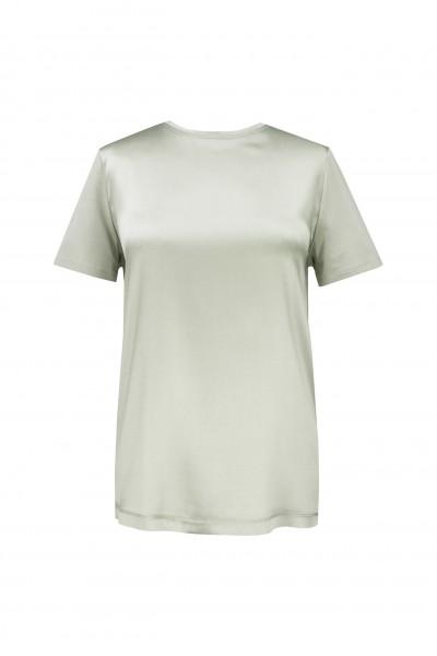 Jedwabny T-shirt w kolorze khaki