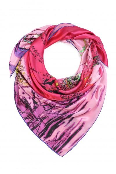 Jedwabna chusta w odcieniach różu i fioletu