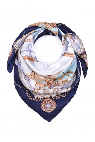 Jedwabna chusta w odcieniach niebieskiego i fioletu