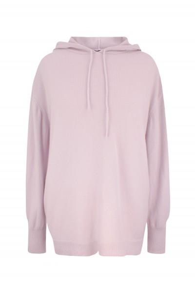 Sweter oversize z kapturem w kolorze pastelowego różu