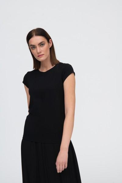 T-shirt bawełniany z nadrukiem w kolorze czarnym