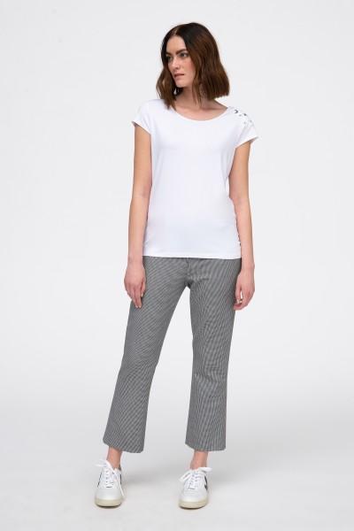 Spodnie w drobną kratkę biało-czarną