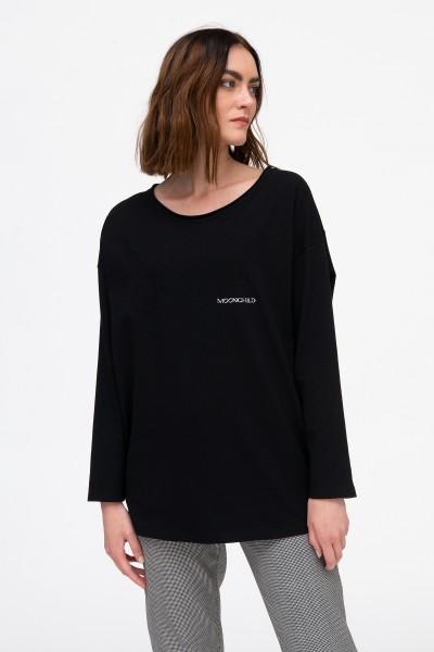 T-shirt bawełniany z nadrukami w kolorze czarnym