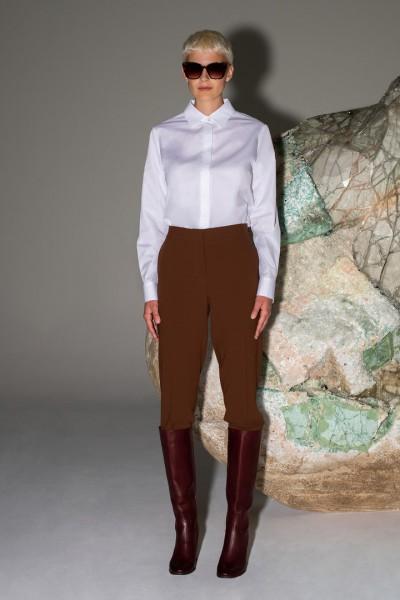 Eleganckie spodnie w kant w kolorze jasnobrązowym