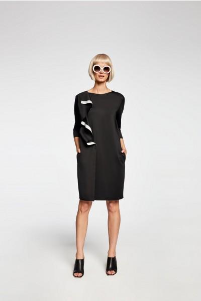 Granatowa sukienka z kontrastową plisą