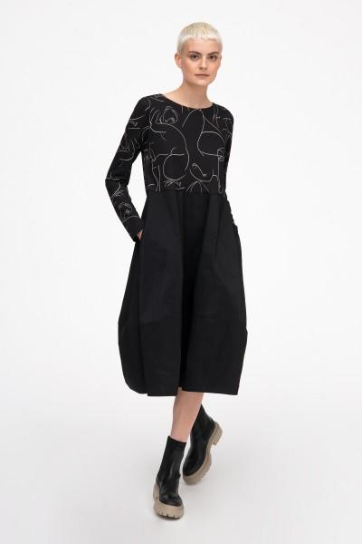 Sukienka bombka z minimalistycznym printem w kolorze czarnym