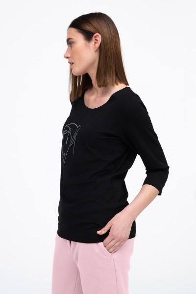 T-shirt z okrągłym dekoltem i nadrukiem w kolorze czarnym