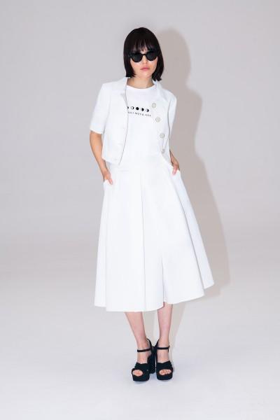 Rozkloszowana spódnica w kolorze białym z bawełny