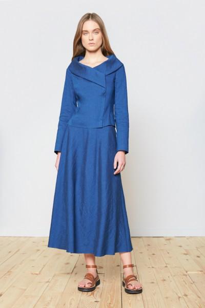 Niebieska spódnica z lnem o długości maxi